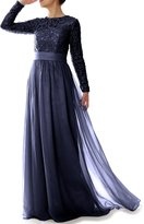 MACloth Women Long Sleeve Lace Chiffon Mother of Bride Dress Formal Evening Gown