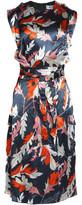 MSGM Belted Printed Silk-Satin Dress