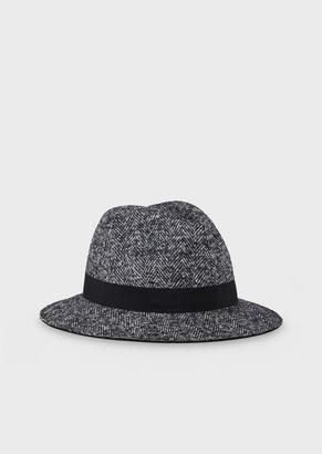 Giorgio Armani Fedora Hat In Herringbone Fabric