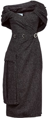 Prada Oversized Pocket Sheath Dress