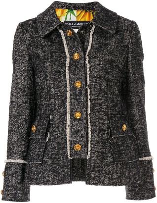 Dolce & Gabbana Tweed Logo Button Jacket