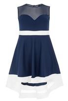 Quiz Curve Navy And Cream Mesh Dip Hem Dress