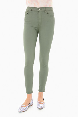7 For All Mankind Solid Olive High Waist Ankle Skinny