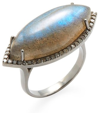 Adornia Fine Diamond Halo Marquis Labradorite Ring