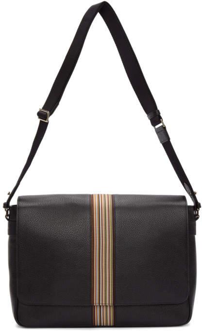 Paul Smith Black Multistripe Messenger Bag