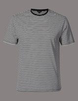 Autograph Pure Cotton Striped Crew Neck T-shirt