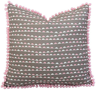 One Kings Lane Vintage Pink & White Pillow with Pom-Pom Trim