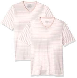 Amazon Essentials Slim-Fit Short-Sleeve Stripe V-Neck T-Shirts (Pack of 2) L