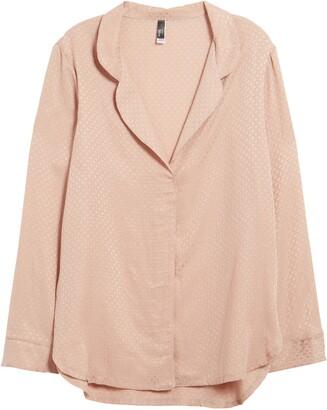 Felina Jacquard Cupro Blend Pajama Shirt