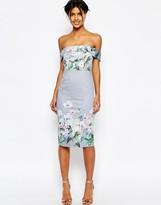 Asos Gray Border Floral Midi Pencil Dress