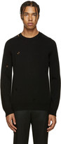 Alexander McQueen Black Cashmere Distressed Sweater