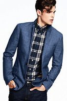 Lands' End Men's Chambray Suit Jacket-Indigo Chambray