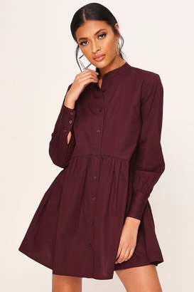 I SAW IT FIRST Burgundy Poplin Long Line Shirt Dress