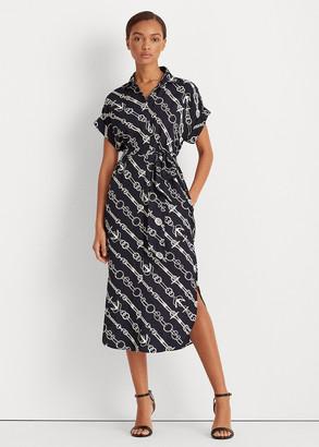 Ralph Lauren Anchor-Print Crepe Shirtdress