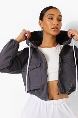boohoo Zip Through Hooded Denim Jacket