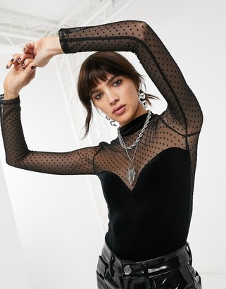 Bershka velvet body with lace in black