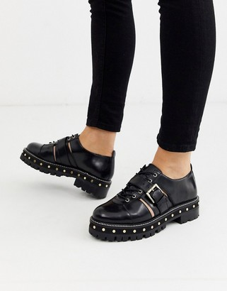 ASOS DESIGN Mind premium leather studded lace up flat shoes in black