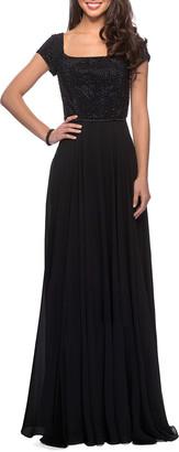 La Femme Beaded-Bodice Crepe Chiffon Gown
