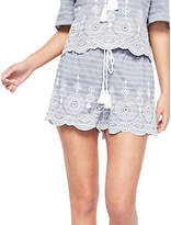 Miss Selfridge Petite Stripe Embroidered Shorts, Blue