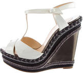 Christian Louboutin T-Strap Espadrille Wedge Sandals