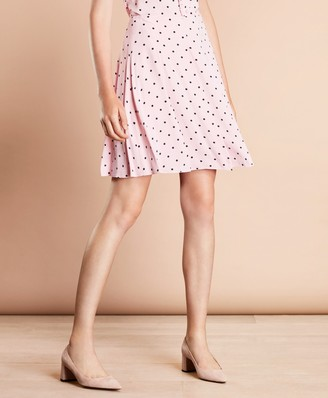 Brooks Brothers Polka-Dot Crepe Pleated Skirt