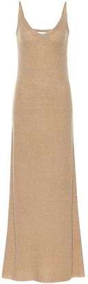 Ribbed knit cashmere and silk maxi dress