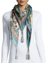 Johnny Was Silk Mirage-Print Scarf, Multi