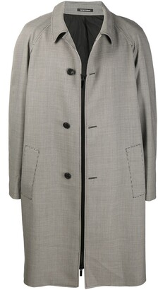 Emporio Armani Houndstooth-Print Mid-Length Coat
