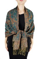 Peach Couture Exclusive Double Layer Reversible Paisley Pashmina Shawl Scarf