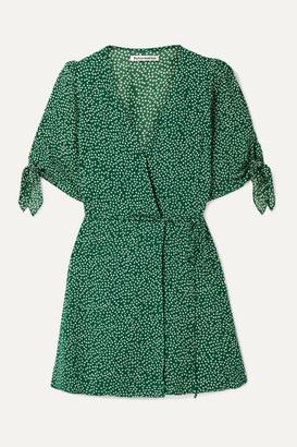 Reformation Sammy Floral-print Crepe Wrap Dress - Dark green
