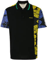 Versace asymmetric patterned polo shirt