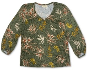 Style&Co. Style & Co Printed Long-Sleeve Top, Created for Macy's