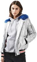Topshop Draco Faux Fur Collar Metallic Jacket