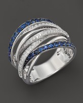 Bloomingdale's Diamond and Sapphire Crossover Band in 14K White Gold - 100% Exclusive