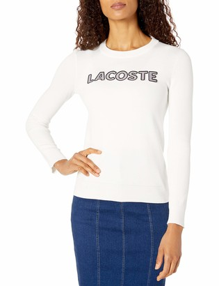 Lacoste Women's Long Sleeve Crew NECKTATTERSALL Logo Cotton Sweater