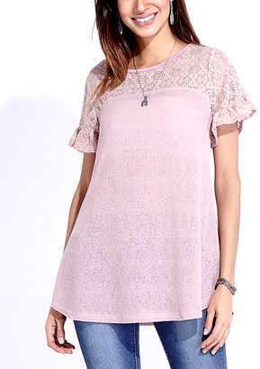 Reborn Collection Women's Tunics Mauve - Mauve Lace-Panel Ruffle-Sleeve Tunic - Women
