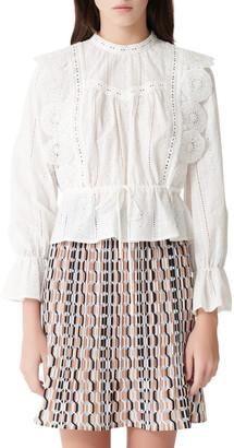 Maje Maviane Lace Detail Long Sleeve Cotton Blouse
