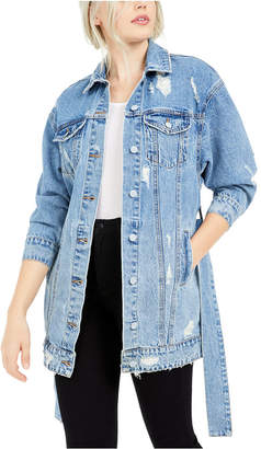 Only Long Tie-Waist Trucker Jean Jacket