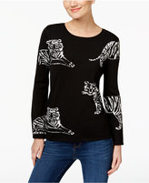 INC International Concepts Tiger-Print Intarsia Sweater, Only at Macy's