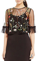 Gianni Bini Misty Mesh Embroidered Blouse