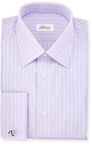 Brioni Satin-Stripe French-Cuff Dress Shirt, Purple