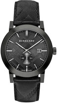 Burberry Women's Swiss Chronograph The Classic Round Black Check-Embossed Leather Strap Watch 42mm BU9906