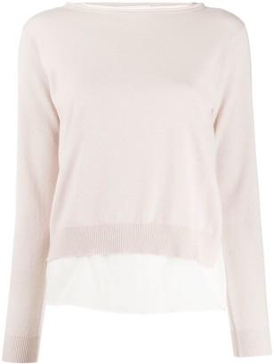 Fabiana Filippi Chiffon-Underlay Knitted Top