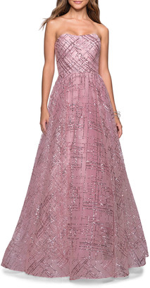 La Femme Sequined Strapless Sweetheart Ball Gown