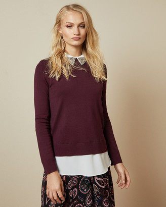 Ted Baker LIAYLO Sparkle collar mock layer sweater