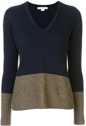 Duffy colour block V-neck jumper