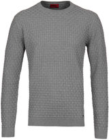 Hugo Subon Grey Woven Knit Crew Neck Sweater