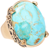 Barse Turquoise & Bronze Filigree Cocktail Ring