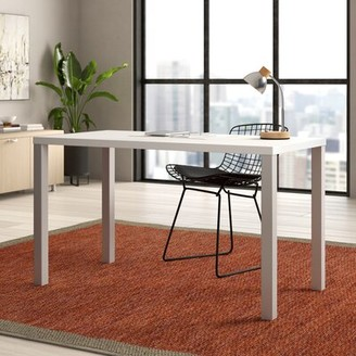 "Steelcase Currency Desk Finish: True Performance Laminate - Arctic White, Legs: Platinum Metallic, Size: 27.38"" H x 48"" W x 24"" D"