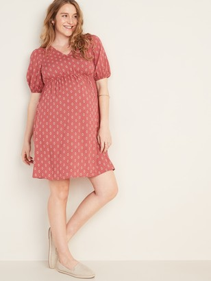 Old Navy Maternity Waist-Defined Printed V-Neck Dress